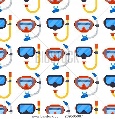 Diving mask seamless pattern background. Rubber snorkel water scuba leisure. Underwater beach plastic goggles. Swimming glasses snorkeling design protection.