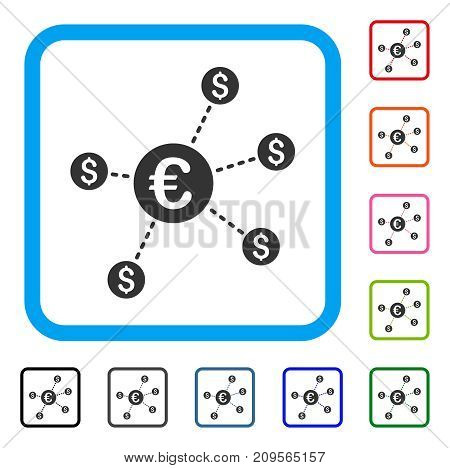Currency Network Nodes icon. Flat gray iconic symbol inside a light blue rounded frame. Black, gray, green, blue, red, orange color versions of Currency Network Nodes vector.