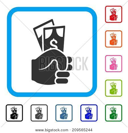 Dollar Banknotes Salary icon. Flat gray iconic symbol in a light blue rounded frame. Black, gray, green, blue, red, orange color variants of Dollar Banknotes Salary vector.