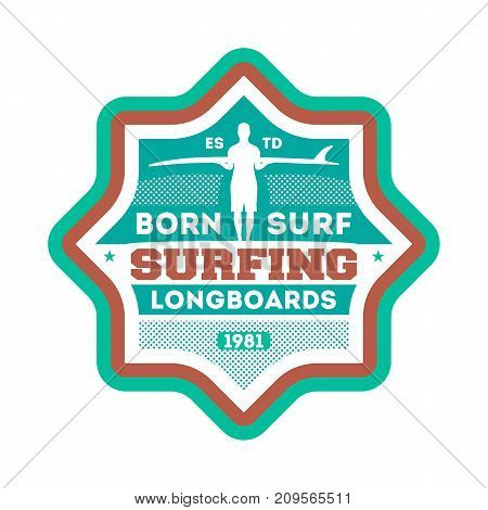 Born to surf vintage isolated label. Windsurfing society badge, sport center sign, sea activity vector illustration.