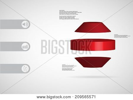3D Illustration Infographic Template With Round Octagon Horizontally Divided To Three Red Slices