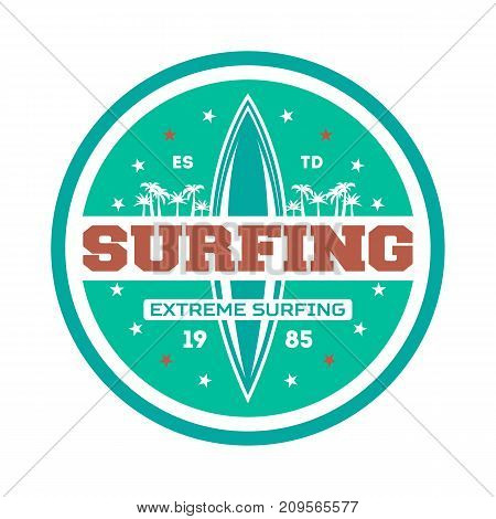 Windsurfing competition vintage isolated label. Surfing society badge, sport center sign, sea activity vector illustration.
