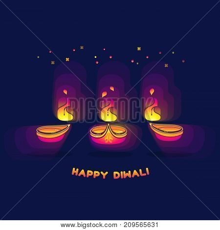 Happy Diwali greeting card. The festival of lights. Vector illustration. Diwali lamps bright colorful sign isolated on dark blue background. Abstract Indian oil lamp for your design.