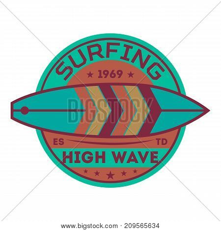 Extreme high wave surfing vintage isolated label. Windsurfing society badge, sport center sign, sea activity vector illustration.