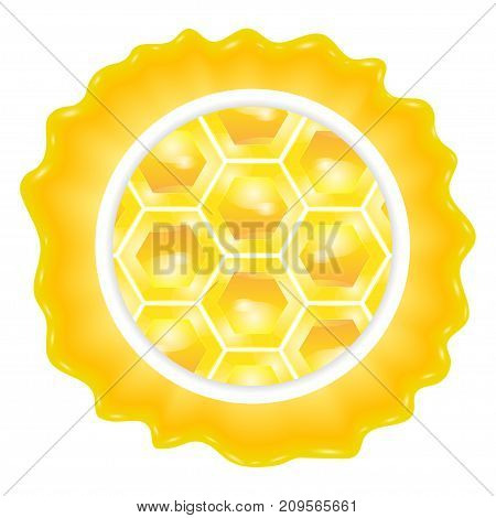 Honey label round template for honey with honeycomb. Vector illustration.