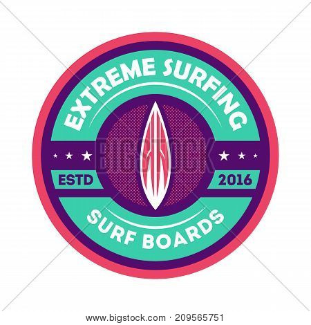 Extreme surfing camp vintage isolated label. Windsurfing society badge, sport center sign, summer beach activity vector illustration.