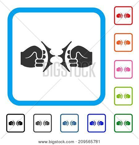 Fist Fight icon. Flat grey pictogram symbol inside a light blue rounded rectangular frame. Black, gray, green, blue, red, orange color variants of Fist Fight vector. Designed for web and software UI.