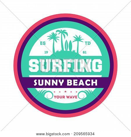 Waves surfing vintage isolated label. Windsurfing society badge, sport center sign, sea activity vector illustration.