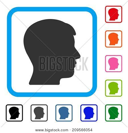 Man Profile icon. Flat gray pictogram symbol in a light blue rounded square. Black, gray, green, blue, red, orange color additional versions of Man Profile vector. Designed for web and app interfaces.