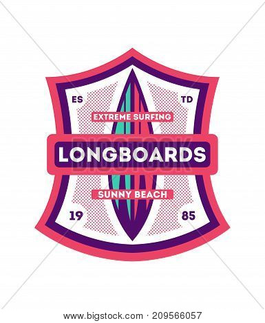 Longboard surfing club vintage isolated label. Windsurfing society badge, sport center sign, sea activity vector illustration.