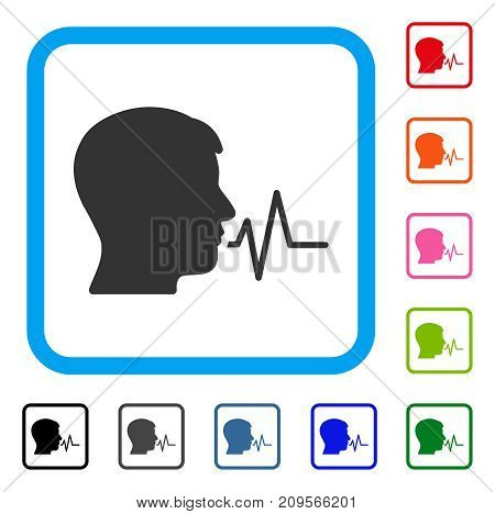 Person Speech Signal icon. Flat grey pictogram symbol in a light blue rounded square. Black, gray, green, blue, red, orange color versions of Person Speech Signal vector.