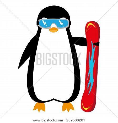 cartoon penguin snowboarder on white background illustration