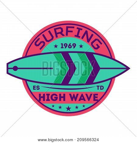 High wave surfing vintage isolated label. Windsurfing society badge, sport center sign, sea activity vector illustration.