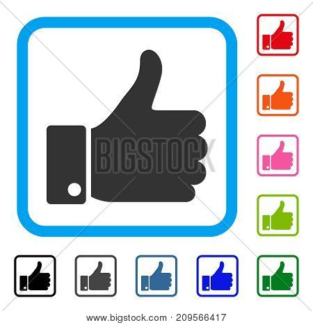 Thumb Up icon. Flat gray iconic symbol inside a light blue rounded squared frame. Black, gray, green, blue, red, orange color variants of Thumb Up vector. Designed for web and app user interface.