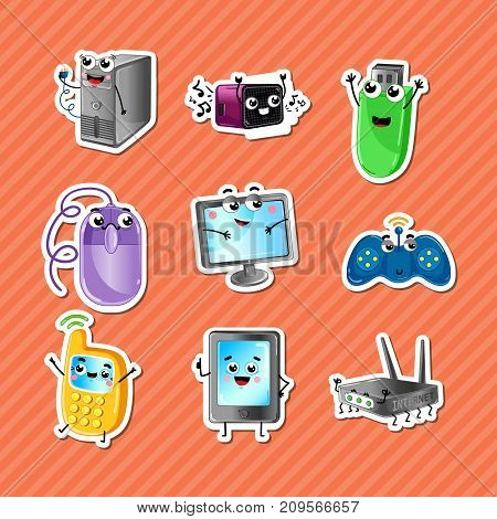 Funny computer gadgets cartoon characters set. Monitor, wi-fi router, mobile phone, tablet PC, wireless gamepad, computer mouse, usb flash drive icons. Home electronic device comic vector illustration