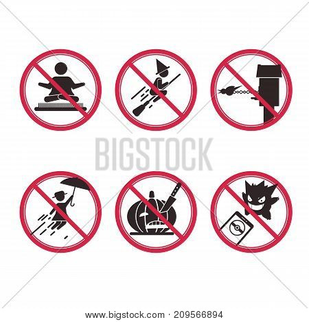 Set of 6 unusual prohibited signs. Illustration.