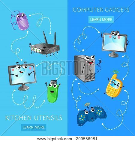 Funny computer gadgets banner set. Monitor, wi-fi router, wireless gamepad, computer mouse and system unit, mobile phone, usb flash drive characters. Electronic technique comic vector illustration