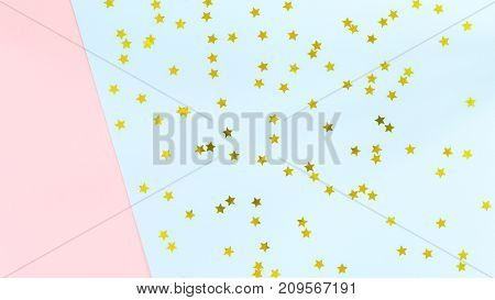 Golden Star Sprinkles On Double Pink And Blue. Festive Holiday Background. Celebration Concept