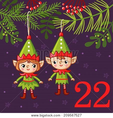 Vector christmas advent calendar in childrens style. Cute Christmas decorations in the form of elves hang on the Christmas tree.
