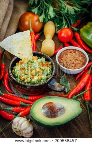 Guacamole and salsa - two hot mexican vegetarian dips