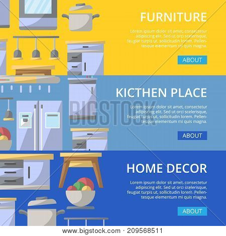 Kitchen place poster set. Home interior design, modern apartment decoration, furniture renovation. Cooking table, wash basin, gas stove, refrigerator, stool, lamp, air extractor vector illustration.