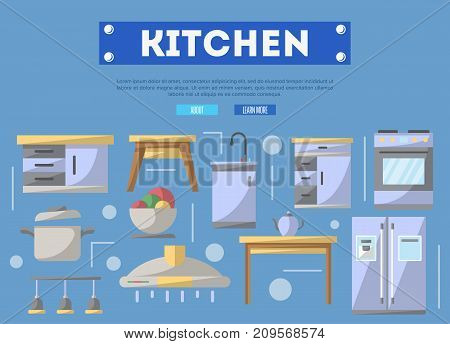 Kitchen furniture poster. Home interior design, modern apartment decoration, furniture renovation. Cooking table, wash basin, gas stove, refrigerator, stool, lamp, air extractor vector illustration.