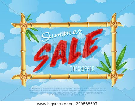 Summer sale poster in cartoon style. Discount proposition in bamboo frame on background of blue sky. Best offer advertisement for retail, seasonal shopping promotion vector illustration.
