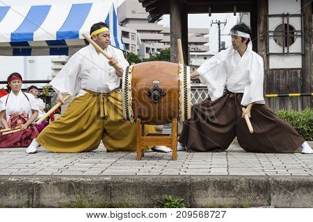 Tokyo, Japan - September 24 2017: Drummers In Traditional Clothing At Shinagawa Shukuba Matsuri Fest