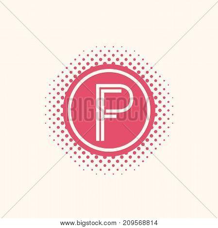 Initial letter PF logo pink halftone design