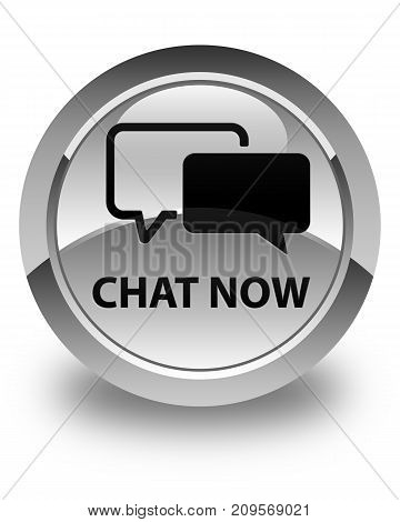 Chat Now Glossy White Round Button