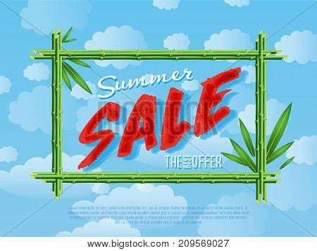 Summer sale poster for retail. Best offer advertisement, sale marketing, seasonal shopping promotion vector illustration. Discount proposition in bamboo frame on background of blue sky.
