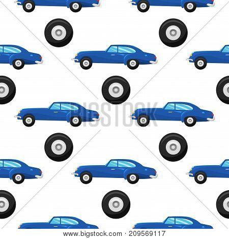 Retro vintage old style car vehicle automobile exclusive speed sport transport antique garage classic auto vector illustration. Machine engine model automotive race seamless pattern.