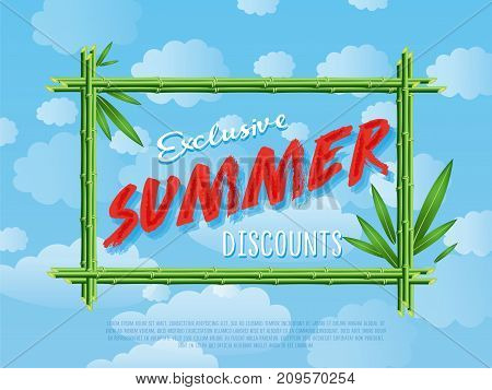 Exclusive summer discounts poster. Best offer advertisement for retail network, seasonal shopping, sale promotion vector illustration Discount proposition in bamboo frame on background of blue sky.