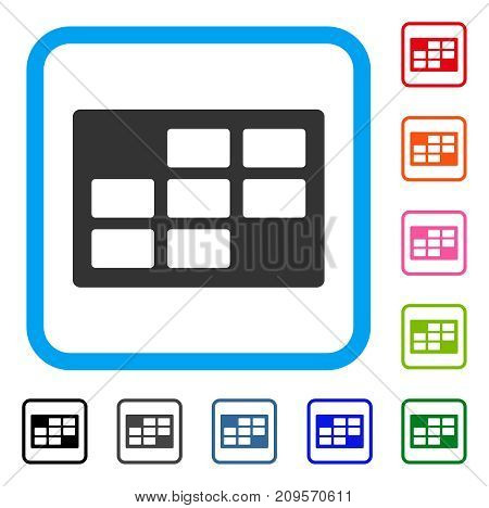 Calendar Table icon. Flat grey pictogram symbol in a light blue rounded squared frame. Black, gray, green, blue, red, orange color additional versions of Calendar Table vector.