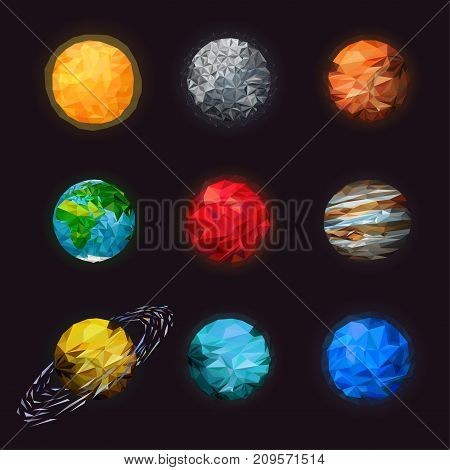 Abstract low poly set of isolated planets. Fantasy polygonal planets set on space background. Science astronomy of the solar planetary. Mars saturn with rings earth Sun