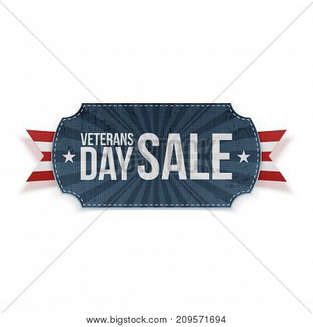 Veterans Day Sale blue Label with Ribbon. Vector Illustration