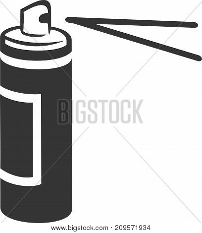 Spray Can Spraying Vector Icon Shape. Aerosol Spray Paint, Cooking Spray, Spray Adhesive, Deodorant, Hairspray, Cleaner or Air Freshener. Nozzle Spray Jet Illustration with Label. Sign or Symbol for Professional Employee Service Supplies.