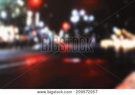Night Blur. Blurred Light Bokeh Background Moving Along City