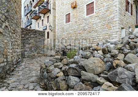 ULCINJ MONTENEGRO - SEPTEMBER 9 2017: Narrow street in Old Town Apartment Debora Ulcinj Montenegro
