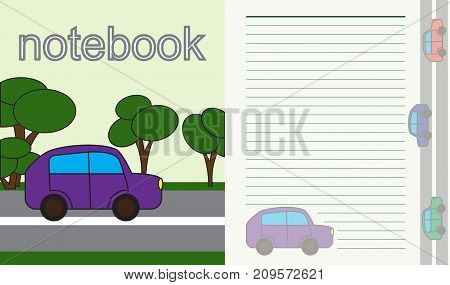 sheet for children's notebook. car on the road with trees. vector