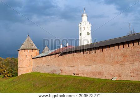 Veliky Novgorod Russia. The Metropolitan Tower and Clock Tower of Novgorod Kremlin Veliky Novgorod Russia