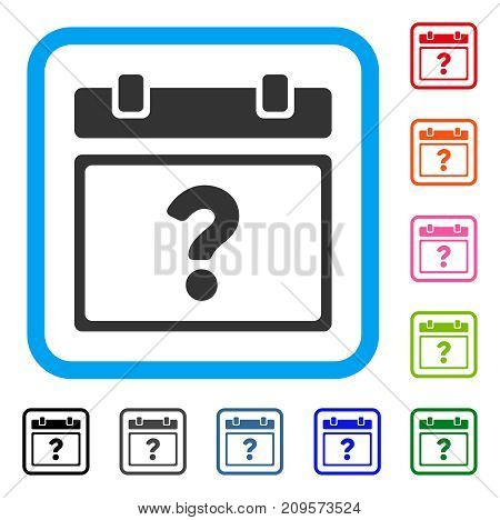 Unknown Calendar Page icon. Flat grey iconic symbol inside a light blue rounded square. Black, gray, green, blue, red, orange color variants of Unknown Calendar Page vector.