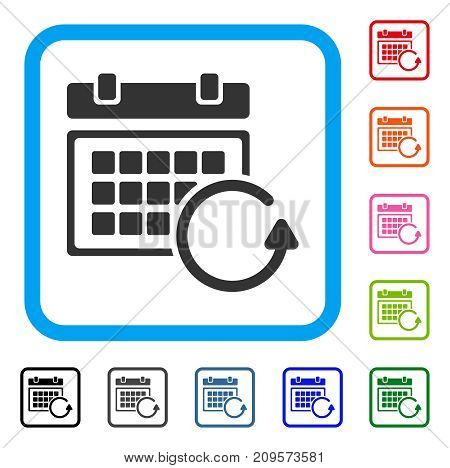 Update Calendar icon. Flat grey iconic symbol inside a light blue rounded rectangle. Black, gray, green, blue, red, orange color variants of Update Calendar vector. Designed for web and software UI.