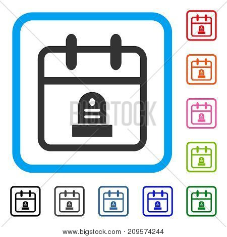 Cemetery Monument Day icon. Flat grey pictogram symbol inside a light blue rounded rectangle. Black, gray, green, blue, red, orange color additional versions of Cemetery Monument Day vector.