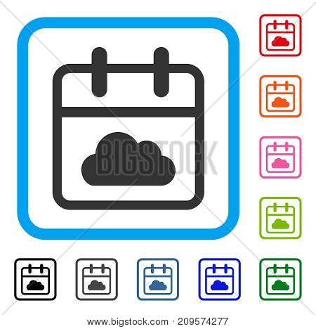 Cloudy Day icon. Flat gray pictogram symbol in a light blue rounded squared frame. Black, gray, green, blue, red, orange color variants of Cloudy Day vector.