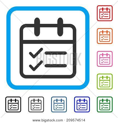 Day Tasks icon. Flat gray pictogram symbol in a light blue rounded rectangle. Black, gray, green, blue, red, orange color additional versions of Day Tasks vector. Designed for web and software UI.