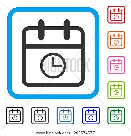 Day Time icon. Flat gray iconic symbol inside a light blue rounded squared frame. Black, gray, green, blue, red, orange color versions of Day Time vector.