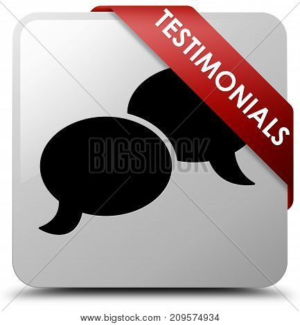 Testimonials (chat Icon) White Square Button Red Ribbon In Corner