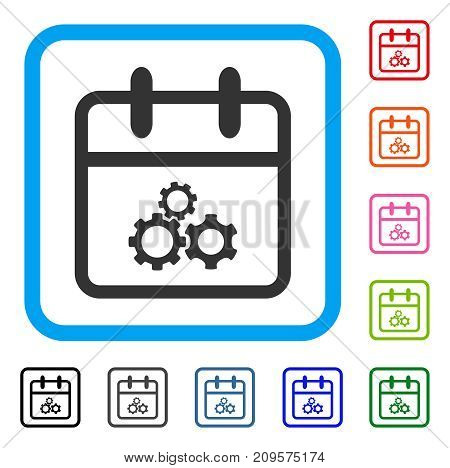 Mechanics Day icon. Flat grey iconic symbol in a light blue rounded squared frame. Black, gray, green, blue, red, orange color variants of Mechanics Day vector. Designed for web and software UI.