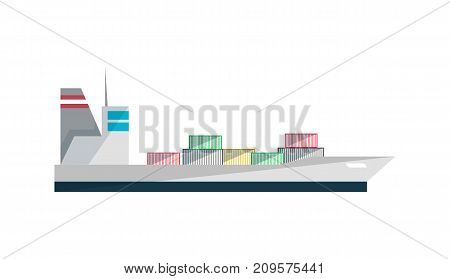 Container ship icon in flat design. Global shipping, worldwide delivery service vector illustration isolated on white background.